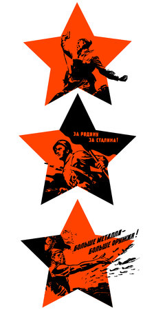 heroism: Red stars with Soviet silhouettes calls Illustration