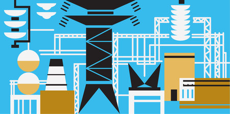 hydro electric: The production process at the power plant. Vector illustration Illustration