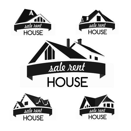 Huis logo template set. Realty thema pictogram. Het bouwen van vector silhouet. Stock Illustratie