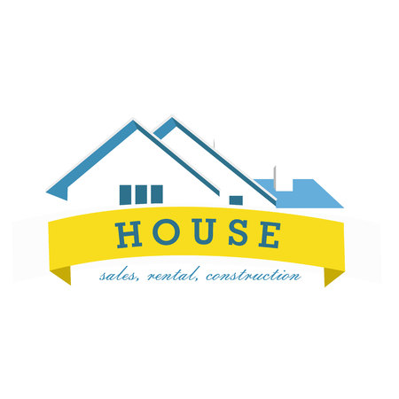 realty: House logo design template. Realty theme icon. Building vector silhouette.