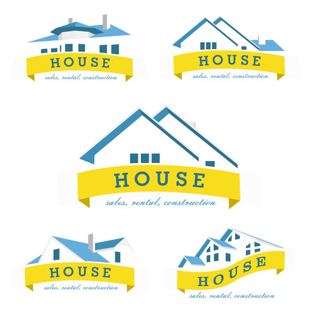 logo batiment: Set mod�le de conception maison de logo. Realty th�me ic�ne. Construire vecteur silhouette. Illustration