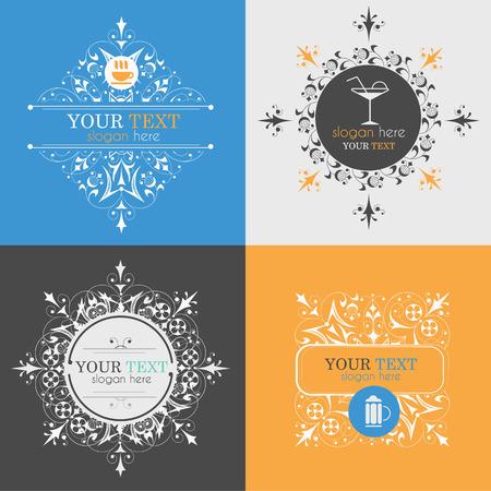 alcoholic beverage: Alcoholic beverage icons. Patterns logo