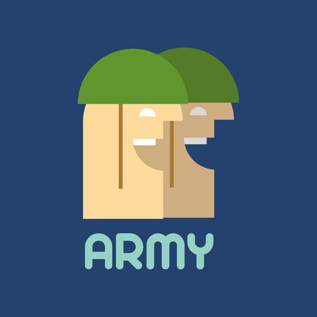 sergeant: Two soldiers. Flat silhouette. Military logo Illustration
