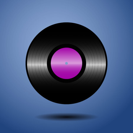 tracklist: Vinyl violet record. Vector illustration Illustration