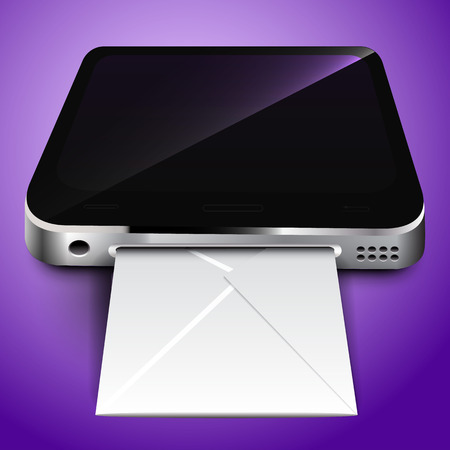 Receiving: Receiving mail through a mobile device. Vector illustration
