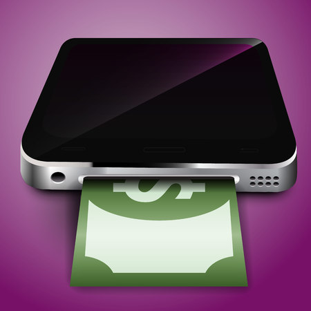 via: Payment via your mobile device. Vector illustration