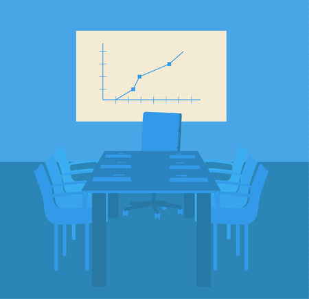 decisionmaking: Decision-making room. Presentation at the office Illustration