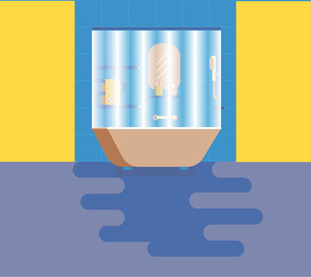 amenities: Bathroom with amenities. Vector illustration