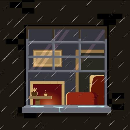 rain window: Autumn window. The cozy interior of the window. Vector illustration