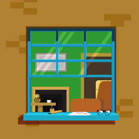 windows: Summer window. Open a window with newspaper and glasses on the windowsill Illustration
