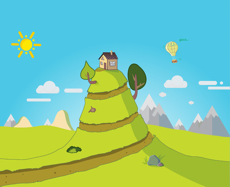 mountain road: The house is on a big hill. Fairy illustration