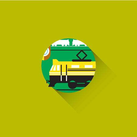 depot: Train depot station. Transportation Industry Illustration