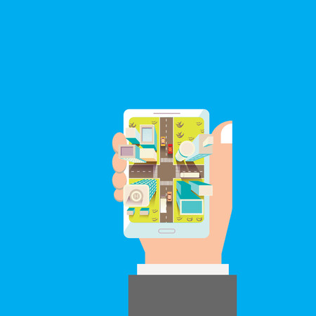 gp: Mobile navigation in the city. Vector illustration