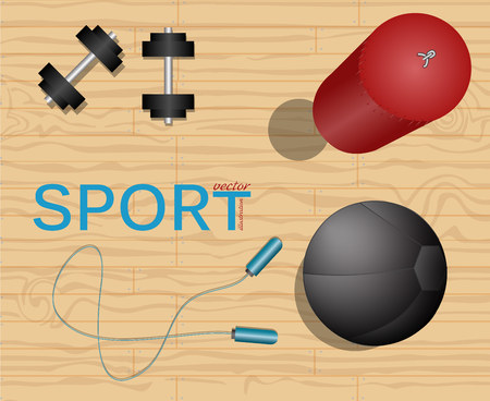exercise equipment: Room gym top. Sport illustration