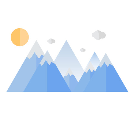 mountaintop: Geometrical mountain. Travel design.Isolated on white. Vector illustration