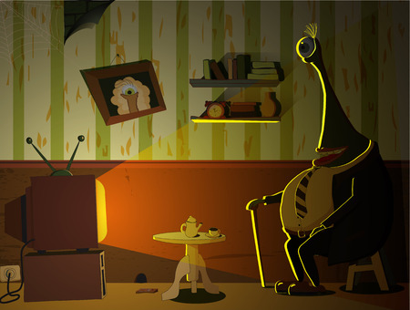 watching tv: Old Monster is watching TV. Fairy illustration Illustration