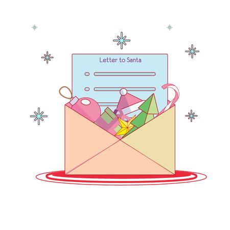 letter from santa: Letter to Santa. Christmas illustration Stock Photo