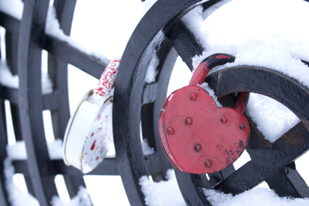 lock symbol: Symbol of love. Frozen heart-shaped lock