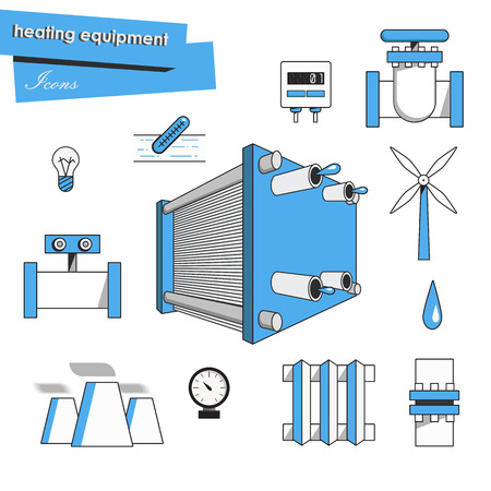 water flow: Icons heating equipment. Accounting for water flow