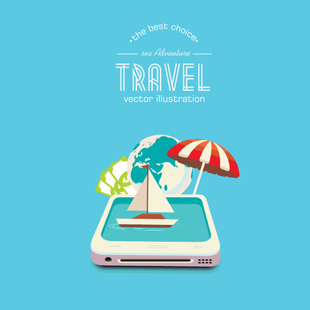 travel phone: Booking travel through your mobile device. The boat drifting on the phone screen