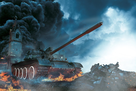 steel mill: Tank in the conflict zone. Combat operation in rural areas Stock Photo