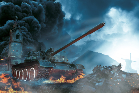 rural areas: Tank in the conflict zone. Combat operation in rural areas Stock Photo
