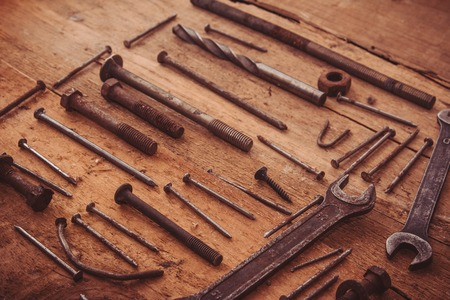 ordered: Set of old tools. Ordered set of rusty tools Stock Photo