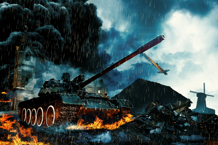 Tank in the conflict zone. Military mission in rainy weather