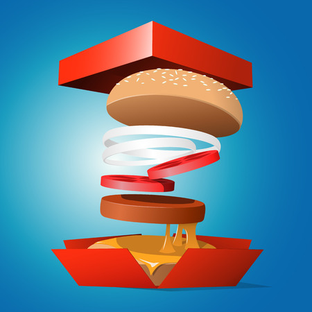 open sandwich: Ingredients hamburger ejected from the packaging. Tasty illustration Illustration