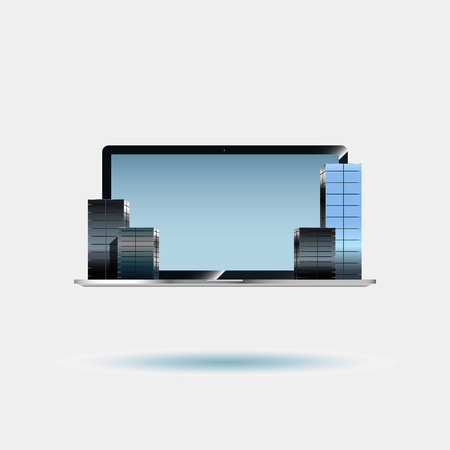 centers: Business centers on the laptop. Skyscrapers on the computer keyboard. Business illustration Illustration