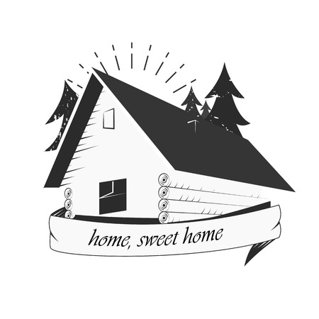 veranda: An old cabin in the woods. Sale of houses. Home construction