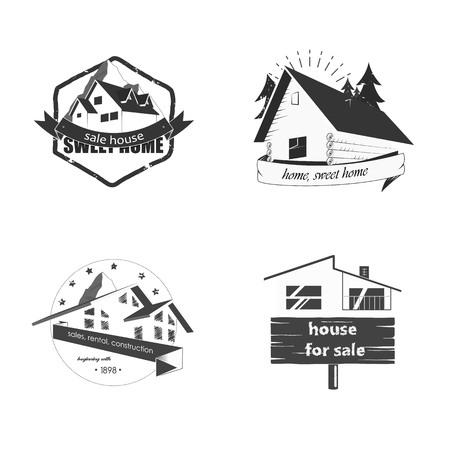 Set Verkauf und Bau von Häusern. Das Haus in den Bergen. Schuppen in einem Wald. Landhaus Vektorgrafik