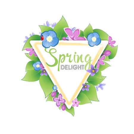 triangular banner: Floral spring banner. Lilacs for triangular banner Illustration
