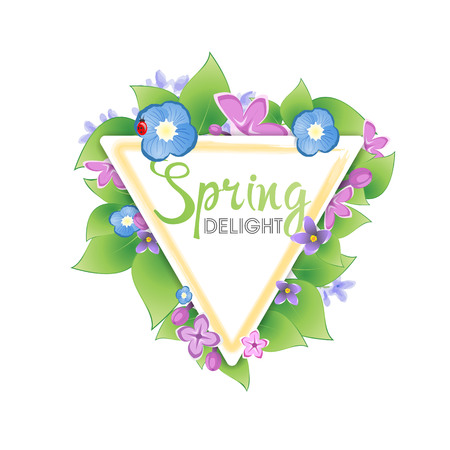 triangular banner: Floral spring banner. Lilacs for triangular banner Stock Photo