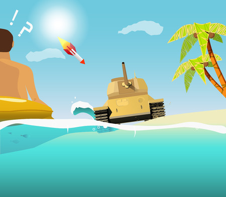 sudden: The sudden intrusion of the tank on the beach. The attack in paradise Illustration