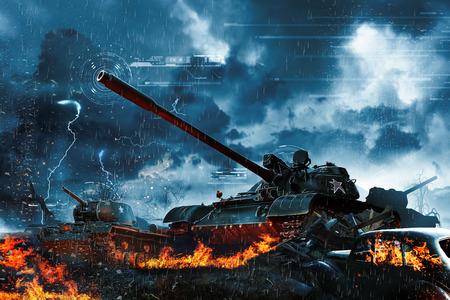 Drie tanks in het regenwoud. militaire missie Stockfoto