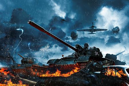 Tres tanques bajo el fuego de los aviones enemigos. misión militar