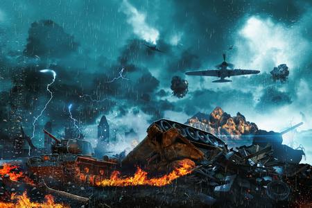 under fire: tanque de postrado bajo el fuego de los aviones enemigos. misión militar en el país Foto de archivo