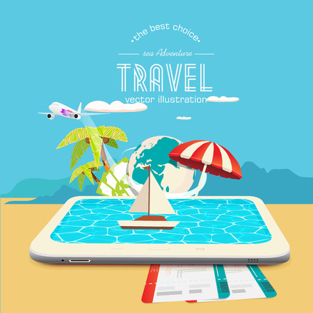 drifting: Booking travel through your mobile device. The boat drifting on the tablet Illustration