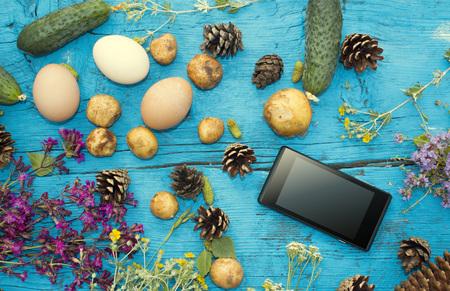 potato tree: Dining halt in nature. Table traveler. Camping