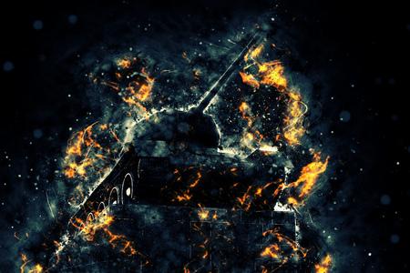 armament: Tank blazing fire. Military conflict. Heavy armament Stock Photo