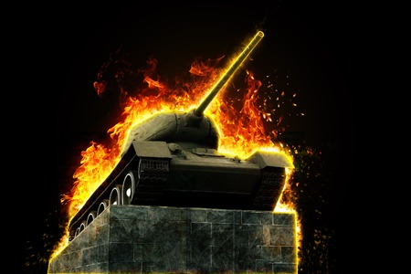 armament: Tank blazing fire. Military conflict. Heavy armament Stock Photo
