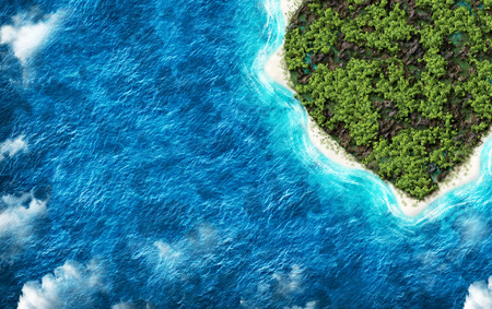 birds desert: The island in the shape of a heart with a birds eye view. Holidays on a desert island Stock Photo