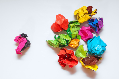 masses: Crumpled paper folded in the hierarchy. Not like everyone else. Stand out from the masses.