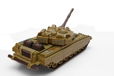 battle tank: Plastic model of a battle tank on a white background