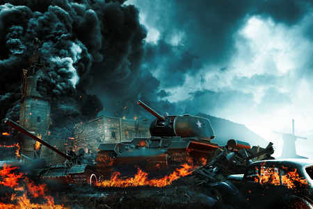 Three tanks in the conflict zone. The war in the countryside Stock Photo