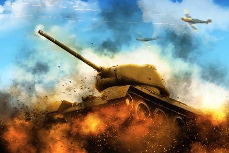under fire: The tank in the blazing fire under air bombardment