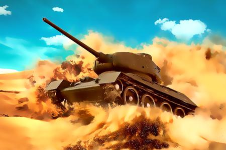 Battle Tank beweegt in de woestijn. Missie in het hete zand