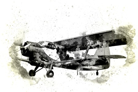 Old plane isolated on a white background Stock Photo