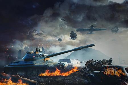 Tank onder vuur van de luchtvaart in het land